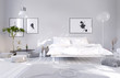 White light bedroom interior with double bed