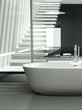 Modern design bathtub against glass partition