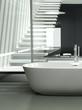 Modern design bathtub against glass partition