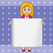 A smiling young lady holding an empty rectangular template