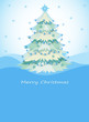 A blue christmas card with a christmas tree