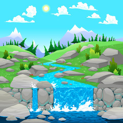 Mountain landscape with river.