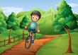 A boy biking going to the farm