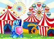A carnival with a blue monster holding a shield