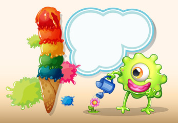 A giant icecream beside the monster watering the plant