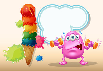 A pink monster exercising near the giant icecream