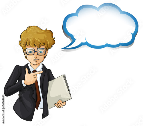 A handsome businessman with an empty cloud template