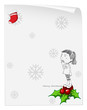 A christmas card template with a young girl standing above a poi