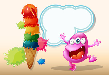 A happy pink beanie monster near the giant icecream