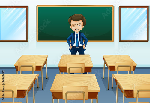 A teacher inside the room