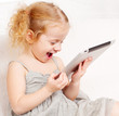 Baby with tablet computer