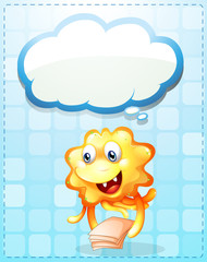 A happy orange monster with papers and an empty cloud template