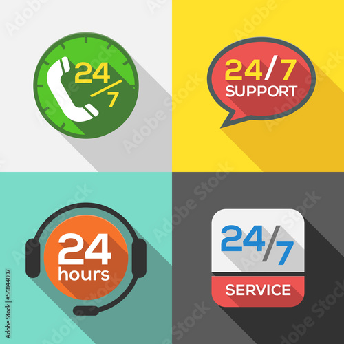 Customer Service 24 hours Support Flat Icon set