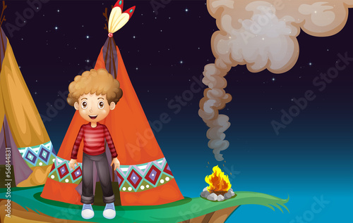 In de dag Indiërs A boy camping at the cliff in the middle of the night