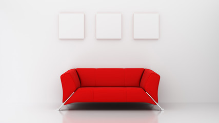 minimalist living room with red couch and three picture frames