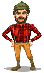 A scary lumberjack standing