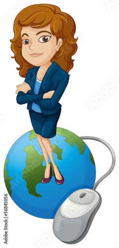 A woman above the globe with a computer mouse