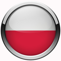 poland national flag gel metal button isolated on white