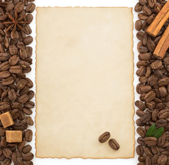 coffee concept and parchment