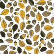 dębowe liście i żołędzie na białym tle jesienny deseń