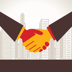 business deal or businessmen shake hand stock vector