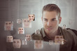 Handsome man encircled by digital interface