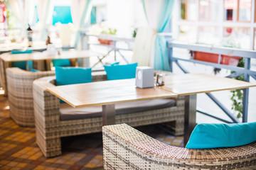 Interior design of empty outdoor restaurant