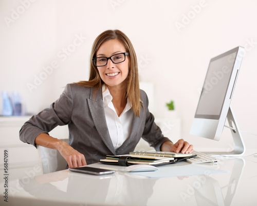 Saleswoman in office working on desktop computer