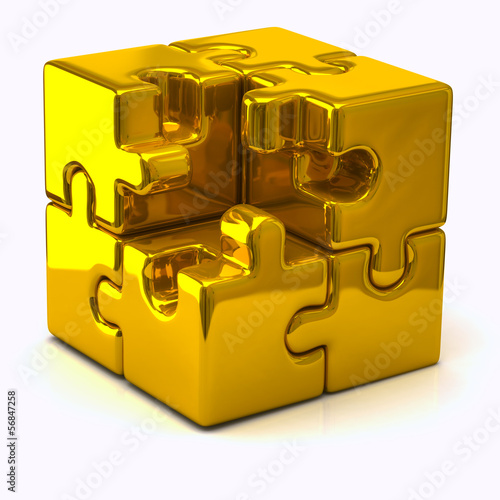 Illustration of gold puzzle cube without one piece