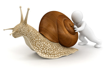 Man with snail (clipping path included)
