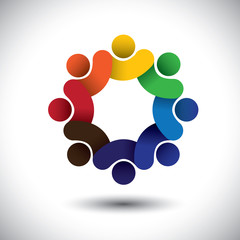 Abstract circle of people icons - diversity in employment concep
