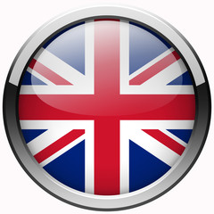 uk flag gel realistic metal button on white