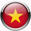 vietnam flag gel realistic metal button on white