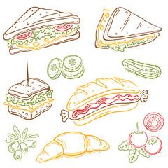 Frühstück, Sandwiches, Hotdogs