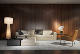 Contemporary living room with wooden wall and minimal sofa