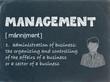 MANAGEMENT Definition on Blackboard (leadership business team)