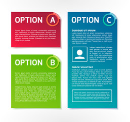 ABC vector colorful option banners