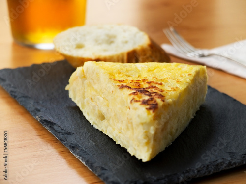 Typical spanish pincho de tortilla de patatas