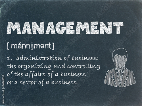 MANAGEMENT Definition on Blackboard (leadership business team)