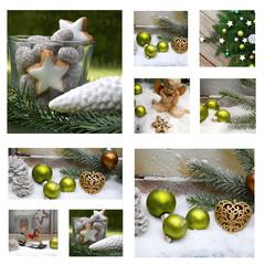 Collage Zimtsterne und Weihnachtskugeln