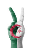 Hand making the V sign, Algeria flag painted