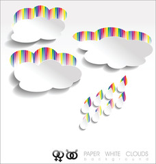 Paper white clouds background