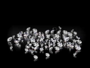 Large group of diamonds on black background