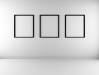 Three blank picture frames