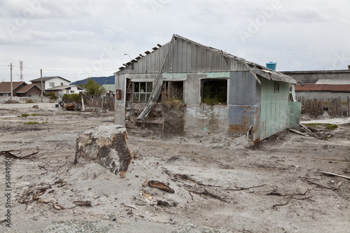 Desolated landscape after volcano eruption in Chaiten. - 56849850