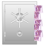 bank safe with five hundred euro banknotes