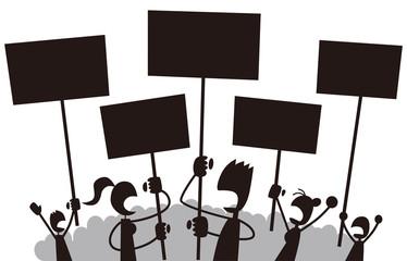 デモをする人々