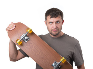 Bearded man with skateboard on white background