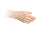 Empty open men hand on white background