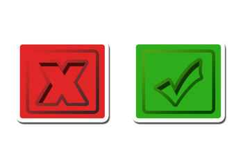 Check and cancel icons Buttons x und haken